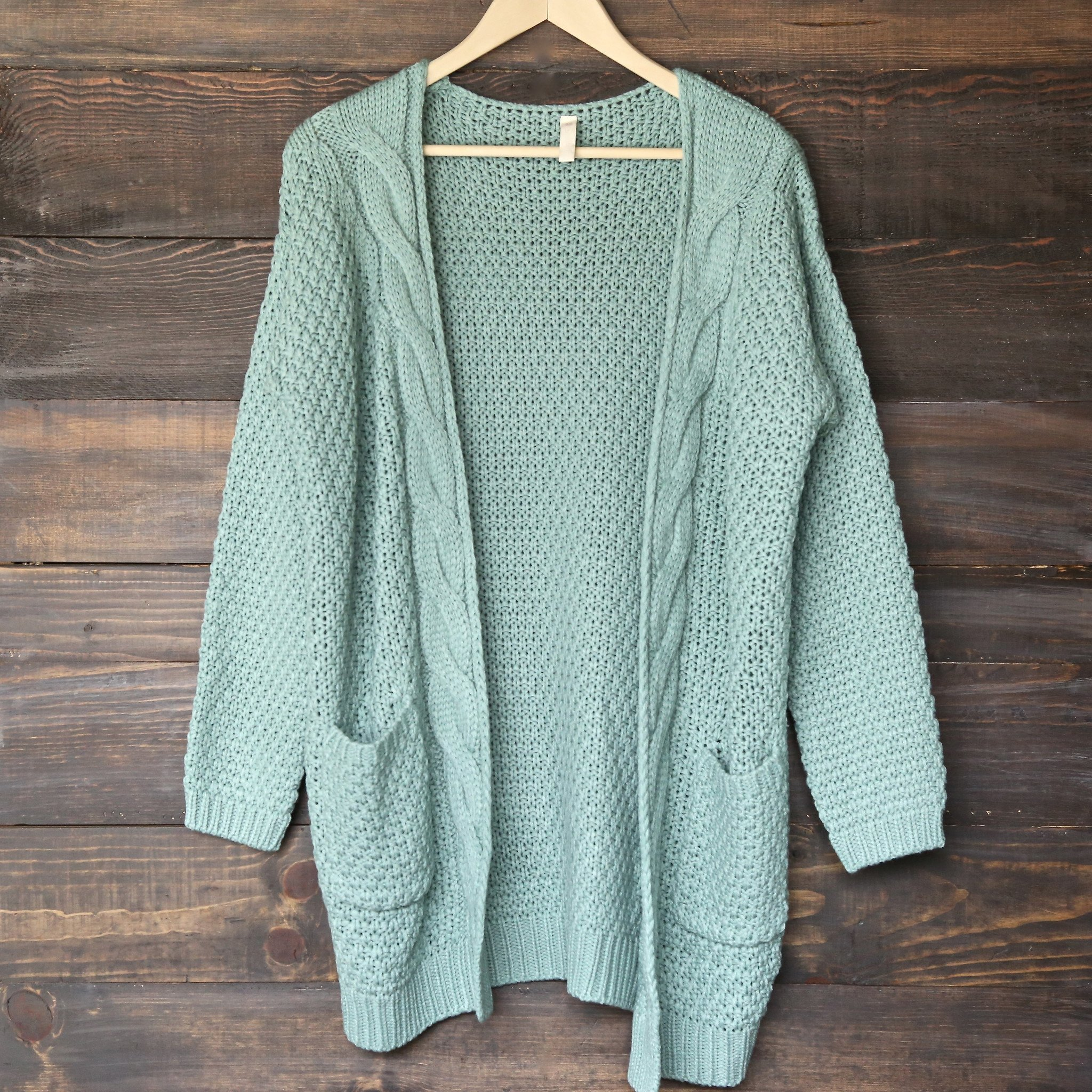 Image of Late At Night Open Front Cable Knit Cardigan Sweater in Mint