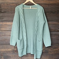Late At Night Open Front Cable Knit Cardigan Sweater in Mint