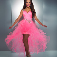 Mac Duggal Prom 2013 - One Shoulder Hot Pink Dress With Ruffled Tulle Skirt - Unique Vintage - Cocktail, Pinup, Holiday & Prom Dresses.