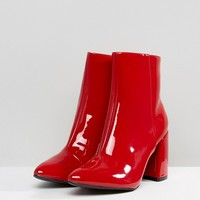 Glamorous Red Vinyl Effect Pointed Heeled Ankle Boots at asos.com