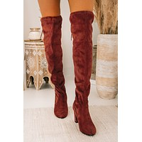 Never Looked Better Faux Suede Thigh High Boots (Dark Rust)