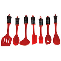 Set 7 Red Kitchen Utensil Silicone Chef Craft Ladle Basting Brush Mixing Spoon
