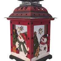 """Clovers Garden 13"""" Christmas Wooden Snowman Lantern Decoration Vintage – Red Decorative Holiday Table Centerpiece or Hanging Lantern for Pillar Candle or LED Light Indoor Use"""