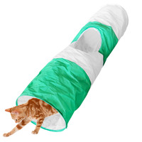 Evelots® Foldable Cat Tunnel, 40 Inches Long, Pet Supplies & Toys, Green & White
