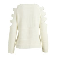 Beige Knitted Cut Out Sleeves Pullover Sweater