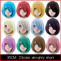 HSIU 35cm short Wig Black white purple blue red yellow high temperature fiber Synthetic Wigs Costume Party Cosplay Wig  23 color