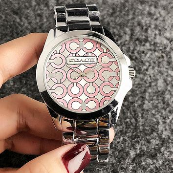"""COACH"" Trending Woman Men Stylish Personality Quartz Movement Wristwatch Watch Silvery Pink I-H-JH"