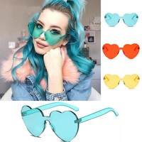 Love Heart Shape Sunglasses Women 2018 Rimless Frame Tint Clear Lens Colorful Sun Glasses Red Pink Yellow Shades