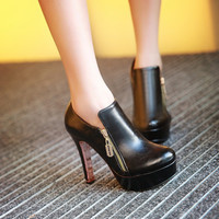 Round Toe Zipper Platform High Heels Ankle Boots 5230