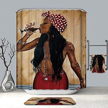 UniTendo African American 3D Retro Style Print Waterproof Polyester Shower Curtain with 12 Hooks for Bathroom Decor,72 x 72 inches Sexy Afro Girl, Curtain+Mat.