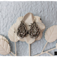 Classic 80's Silver Chain-Link Teardrop Earrings
