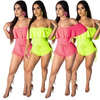 Women Sexy Neon Off The Shoulder Ruffled Drawstring Jumpsuit Romper