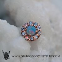 Body Vision BVLA 14kt Yellow White Rose Gold Altura Threaded End White Opal Genuine Diamond Accents 18g 16g 14g 12g [10-0542 AlturaDiamondThreaded] - $407.99 : Diablo Body Jewelry, The Art of High Quality