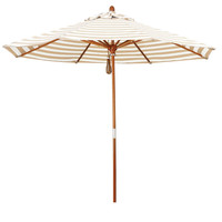 Khaki and Beige Striped Market Umbrella with Wooden Pole and Pulley Lift