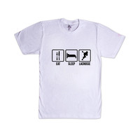 Eat Sleep Lacrosse Routine Repeat Sport Sports Sporty Team Teams Games Exercising Exercise Fitness SGAL7 Unisex T Shirt