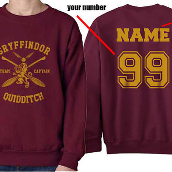 Custom name and number on back Gryffindor Quidditch team Captain Yellow print on Maroon Crew neck Sweatshirt