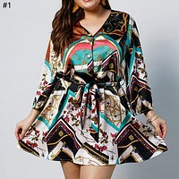 2019 new large size dress long sleeve print skirt