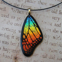 Spectrum Rainbow Fused Glass Butterfly Wing by fusedelegance