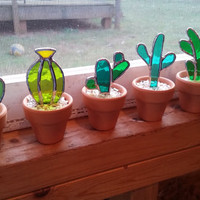 Stained glass cactus! Great gift for the plant or succulent lover!