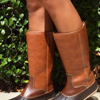 Autumn Rain Duck Boots - Brown