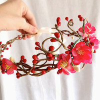 red / pink cherry blossom hair circlet GALWAY by thehoneycomb