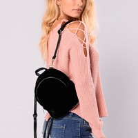 Marie Fuzzy Backpack - Black