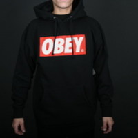 Obey The Box Logo Mens Hooded Pullover Sweatshirt in Black (OHD061-BLK)