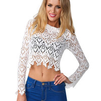 White Round Neckline Long Sleeve Sheer Lace Crop Top