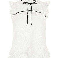 Short Sleeve Lace Ruffle Top   Topshop