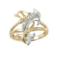 10k Two-Tone Gold Diamond Accent Intertwined Dolphin Ring