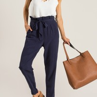 Irina Navy Cuffed Hem Pants