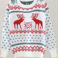 White Deer Pattern Sweater