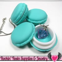 Teal French Macaron Jewelry Gift Box or Cabochon