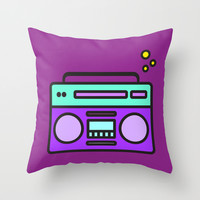 boombox bubbles Throw Pillow by Molly Ennis