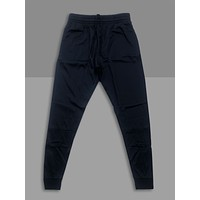 """""""Jet Black"""" Cotton Poly Tapered Joggers"""