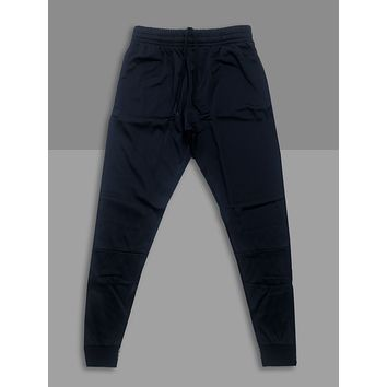 """Jet Black"" Cotton Poly Tapered Joggers"