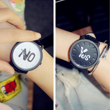 Personality Fashion Simple Letter Unisex Watch Quartz Couple Leather Belt Watch