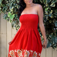 Gorgeous Red  Mexican Embroidered Strapless Mini Dress