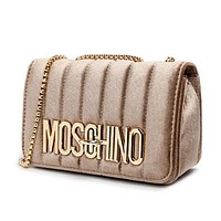 """MOSCHINO"" Hot Sale Women Shopping Bag Velvet Metal Chain Shoulder Bag Crossbody Satchel Champagne Gold"