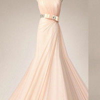 Strapless sleevless floor-length sashes draped long  prom/Evening/Party/Homecoming/cocktail /Bridesmaid/Formal Dress