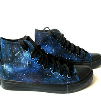 Custom handpainted galaxy sneakers,personalized shoes, galaxy converse, galaxy vans