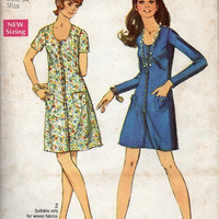 Retro Mad Men Style Basic A-line Dress Simplicity 60s Sewing Pattern Casual Day Dress Mini Length Uncut Bust 34