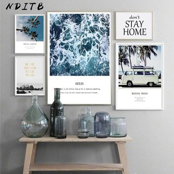 Scandinavian Tropical Ocean Waves Canvas Wall Art Poster Palm Tree Bus Nordic Landscape Print Painting Decoration Pictures