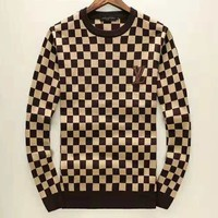 LV 2018 new autumn and winter new men's warm knit bottoming sweater