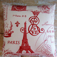 Red Paris Pillow Eiffel Tower French Country by parismarketplace