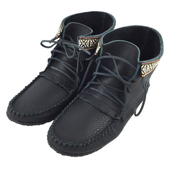 Men's Black Leather Moccasin Boots