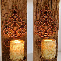 "Reclaimed Barnwood sconce-Copper Iron Swirl and Reclaimed Wood Sconces 16"" Tall 6"" across  total width is 6"" - Barnwood Driftwood 2"" thick"