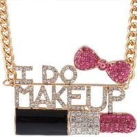 Goldtone Fully Iced Out I Do Makeup Pink Lipstick and Bow Pendant with an 18 Inch Adjustable Link Necklace