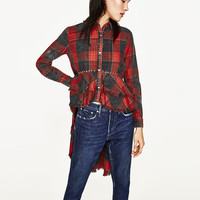CHECKED SHIRT WITH FRILLS
