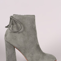 Suede Back Lace Up Chunky Heeled Ankle Boots